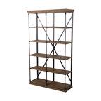 Alondra 5-Shelf Industrial Weathered Wood Bookshelf, Khaki