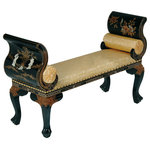 oriental furnishings - French Style Bench Finished In Black Lacquer and Mother of Pearl Inlay In Chines - Elegant French styling blends with a Chinese motif in this classic sitting bench that is large enough for two. Shiny black lacquer is layered in 7 coats on a wooden frame and then hand painted and inlaid with mother of pearl at this astoundingly great price. A true value at import direct pricing. This item comes upholstered in golden silk and has two bolsters to provide comfort. We suggest using this at the base of your bed or in a hallway. This accent bench with its hand carved ball and claw foot and hand painted floral design will be cherished for years and years of use.