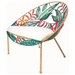 Jo-Liza International - Willow Chair - bird and leav designed chair and a half with multi colored seagrass