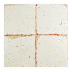 "13""x13"" Artesano Ceramic Floor/Wall Tiles, Blanco, Set of 10"
