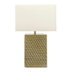 Aluminium Cotton Shade Brass Finish Inline Switch Table Lamp, 21""