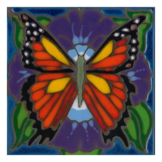 Ceramic tile monarch butterfly trivet hot plate wall decor Hand Painted in USA