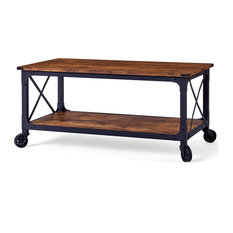 Rustic Coffee Table Black Metal With Weathered Pine Finished Top