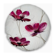 """Lovely Red Watercolor Poppies Flowers Throw Pillowwork, 20"""" Round"""
