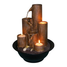 """Alpine Tiered Column Tabletop Fountain With 3 Candles, 11"""" Tall"""