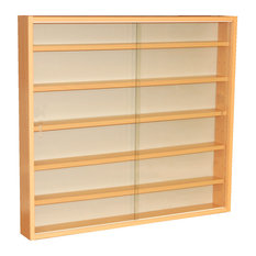 Reveal 6-Shelf Glass Wall Collectors Display Cabinet, Beech