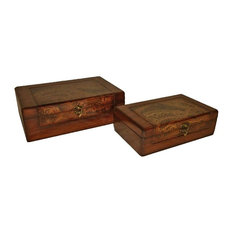 Paisley Wooden Boxes, Set of 2