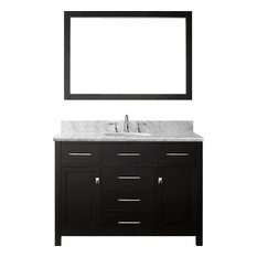 "Caroline 48"" Single Vanity Cabinet Set, Espresso, White Round, Without Faucet"