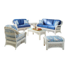 Regata 6-Piece Living Room Furniture Set White Mint Fabric