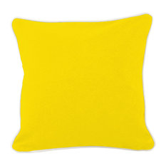"""Monogrammed Pillow Yellow With Insert 16"""", Black Thread, Arial Font, M"""