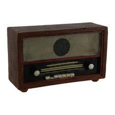 "Zeckos - Brown Vintage Finish Retro Console Radio Coin Bank, 7"" - Piggy Banks"