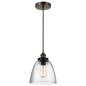Basket Glass Pendant Light, Aged Brass-Dark Weathered Zinc
