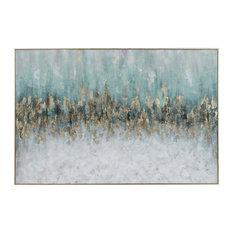 "Metallic Gold Teal Aqua White Oversize Wall Art 61"" Painting Blue Striking"