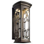 """Kichler - Kichler Franceasi Outdoor Wall 1-Light LED, 10""""x25"""", Olde Bronze - The intricate details of the olde bronze panels on this LED wall lantern from the Franceasi family create delightful shadow patterns on adjoining wall surfaces and walkways. Width: 10, Height: 25, Extension: 12, Height from Center of Wall Opening: 8.75. 11.4W (60W incandescent equivalent). Title 24 and Dark Sky requirements. Rated for wet locations. Light source included."""