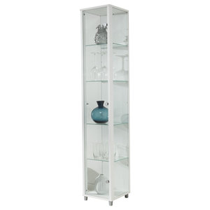 Vitrine Display Cabinet, 1 Door, 4 Shelves, White