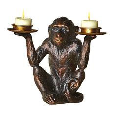Art/Artifact Monkey Tea Light Candle Holder, Victorian Style Bronze Finished