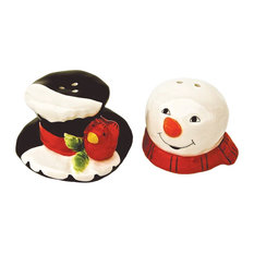 Snowman Head and Frostys Hat Salt and Pepper Shaker Set Ceramic