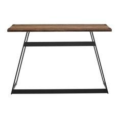 "46"" Urban Industrial Metal Wrap Entry Console Sofa Table, Rustic Oak"