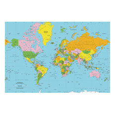 "World Map Wall Decal, Classic Colors, 89""x60"""