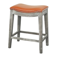 Elmo Bonded Leather Counter Stool, Pumpkin