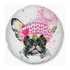 """French Bulldog with Pink Hat Contemporary Animal Throw Pillow, 20"""" Round"""