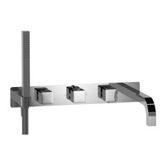 Wall Mount Tub Filler With Hand Shower, Chrome