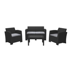 4pc All-Weather Black Conversation Set with Light Grey Cushions