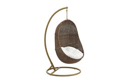 Bean Outdoor Patio Wood Swing, Coffee White