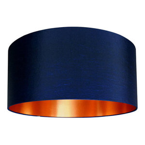 Fabric Lampshade, Midnight Blue and Brushed Copper, 30x30 cm
