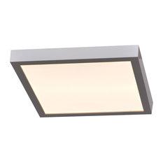 """Ulko Exterior Square LED Flush Mount, Silver, 7"""""""