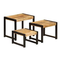 vidaXL 3x Solid Mango Wood Nesting Tables Coffee End Side Sideboard Lowboard by vidaXL