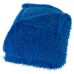 Lavish Home - Solid Plush Fleece Sherpa Throw Blanket by Lavish Home, Blue - The contemporary design of this fleece sherpa throw offers a distinctive, stylish look while providing comfort and warmth