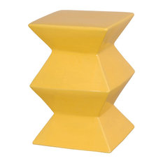 Emissary Zigzag Blue Garden Stool, Yellow