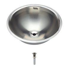 Stainless Steel Bathroom Sink, Brushed Nickel Pop-Up Drain, Ensemble