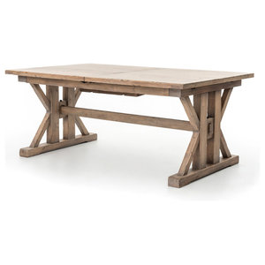"""72-96"""" L Giusto Extension Dining Table Reclaimed Pine Sun Dried Wheat Finish"""
