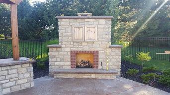 Martin Residence Outdoor Fireplace TV Doors