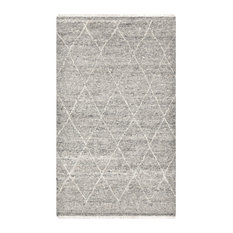 Shaggy Moroccan Bohemian Hand-Knotted Area Rug, Light Gray, 9x12'