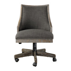 Ordinaire Uttermost   Retro Curved Back Charcoal Gray Upholstered Desk Chair, Office  Wheels Rolling   Office