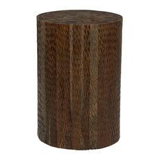 Brown Teak Wood Coastal Stool, 18x12x12