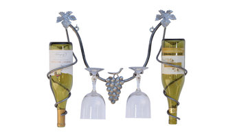 The 2 of Us, Wrought Iron Wine Rack, Brushed Steel