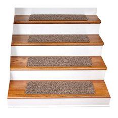 Tape Free Non-Slip DIY Carpet Stair Treads, Set of 15, Brown