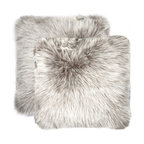 "Belton Faux Fur Pillows, Set of 2, Gray, 18""x18"""