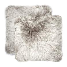 """Belton Faux Fur Pillows, Set of 2, Gray, 18""""x18"""""""