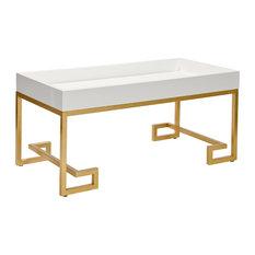 Worlds Away Conrad Greek Key White Tray Coffee Tables