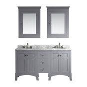 """Hampton 60"""" Bathroom Vanity, Grey, With Medicine Cabinets"""