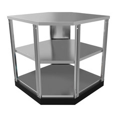 "NewAge Products - Outdoor Kitchen 90"" Corner Shelf, Stainless Steel Classic - Outdoor Cooking"