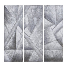 Diamonds Textured Metallic Hand Painted Wall Art Abstract Triptych Set Canvas