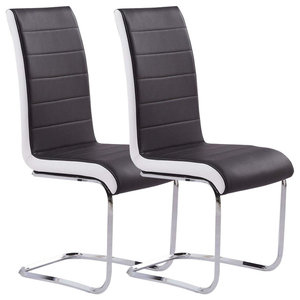 Chairs Upholstered, Black Faux Leather With Chrome Plated Base, Set of 2