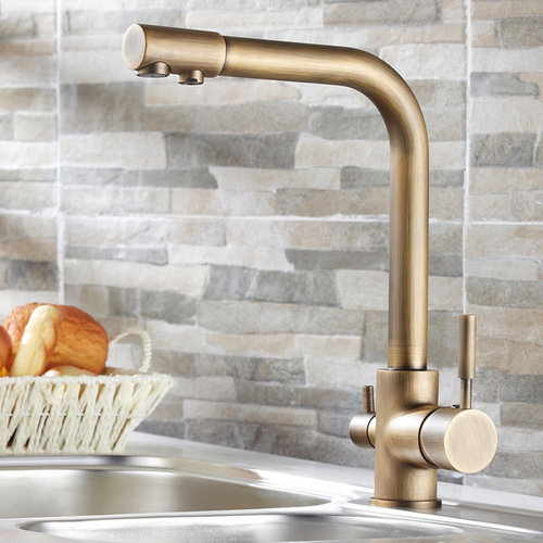 Stev Antique Br Kitchen Faucet With Water Filtering Faucets