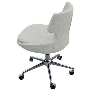 Patara Office Chair, Chrome Base, Silver Camira Wool